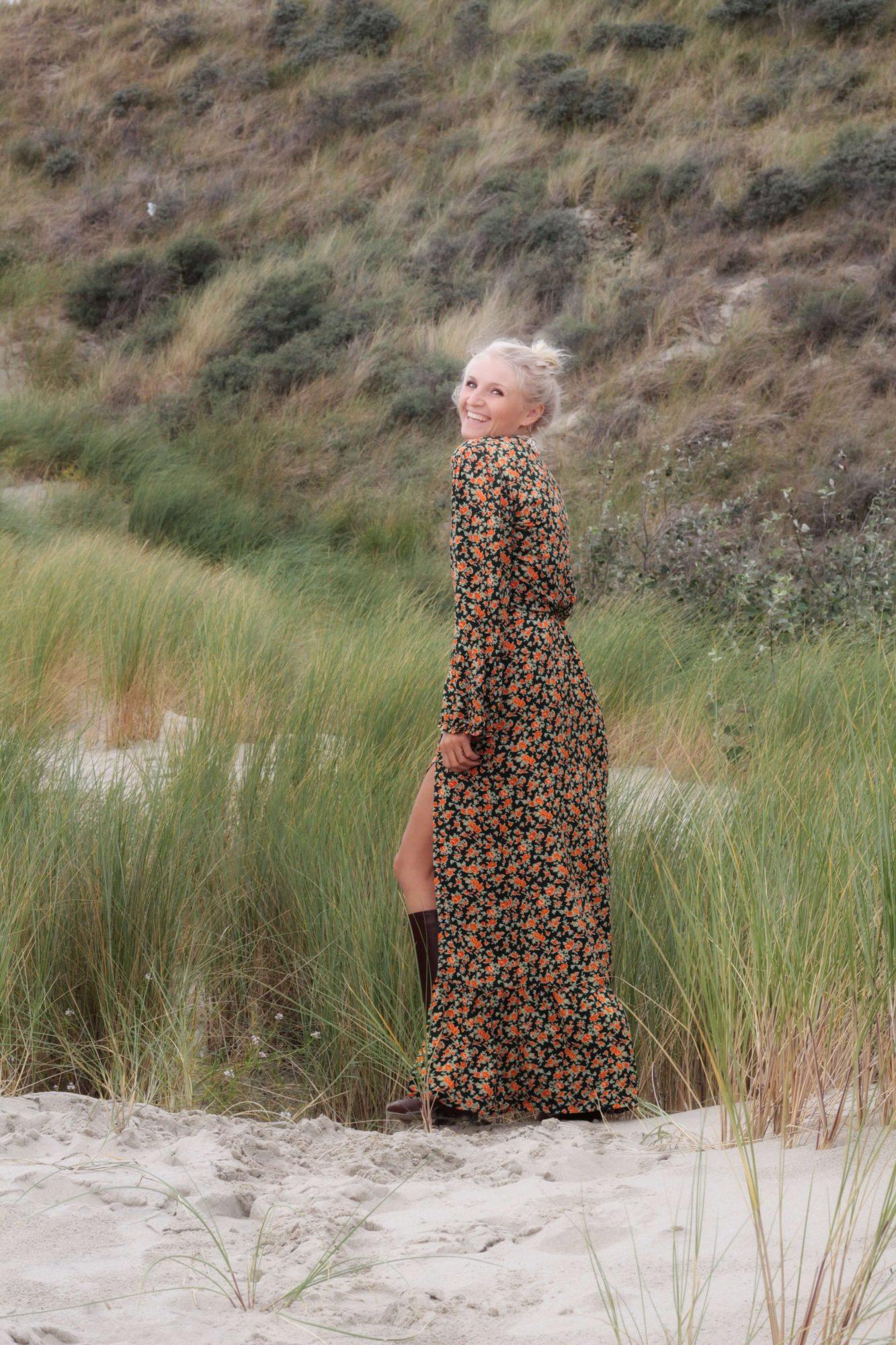 Blumenmuster Kleid Lang Hippie Boho Ibiza Style