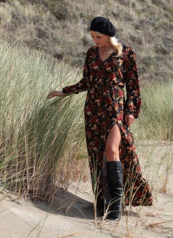 Boheme Maxikleid Langarm Schlitz Kleid Ibiza Gypsy Style