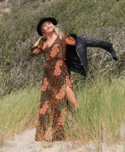 Bohemian Maxikleid langarm Batik Grün Bohemian Chic Maxikleid Boho Muster Hippie Kleid Vintage Style Gypsy Witchy Look