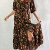 Bohemian Gypsy Style Midi Kleid 3 4 Arm Halbarm Herbst Winter Kollektion