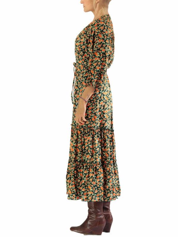 Bohemian Herbst Winter Kleid Midi Länge 3 4 Arm Grün mit Blumenmuster