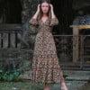Bohemian Kleid Midi Kleid Rosen Muster