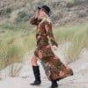 Bohemian Maxikleid mit Schlitz Langarm Modern Hippie Style