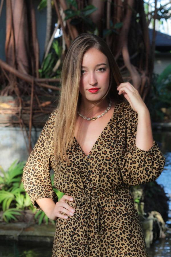 Bohemian Style Boho Style Leopard Leo Muster Animal Print Midi Kleid