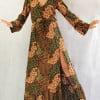 Bohemian Style Herbst Winter Look Schlitz Kleid Maxi Kleid