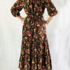 Bohemian Style Midi Kleid Blumen Muster Volant V Ausschnitt