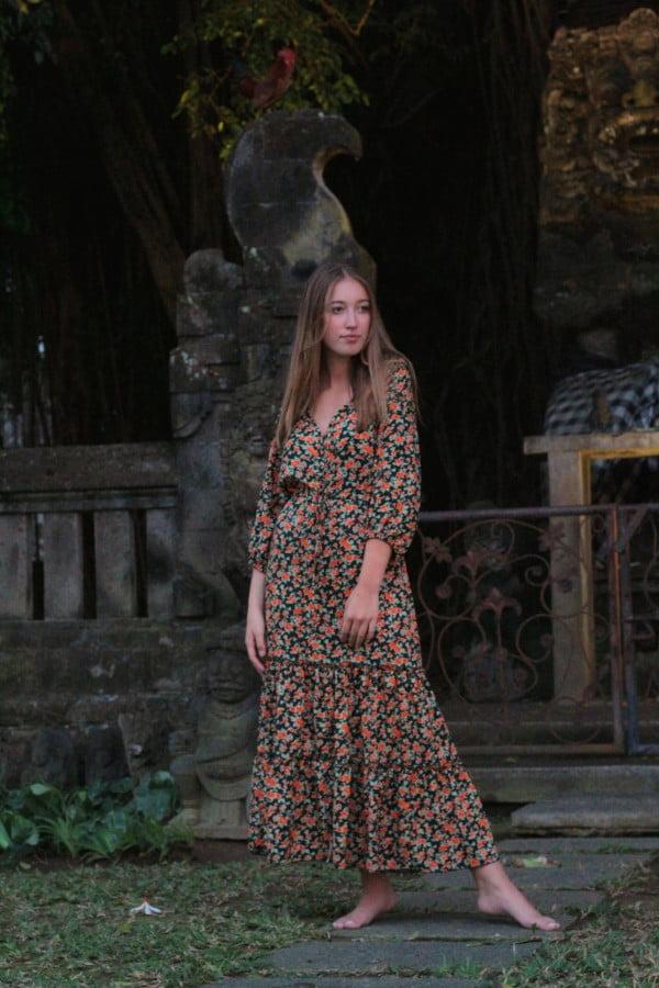 Boho Chic Röschen Kleid Midi Kleid Hippie Kleid