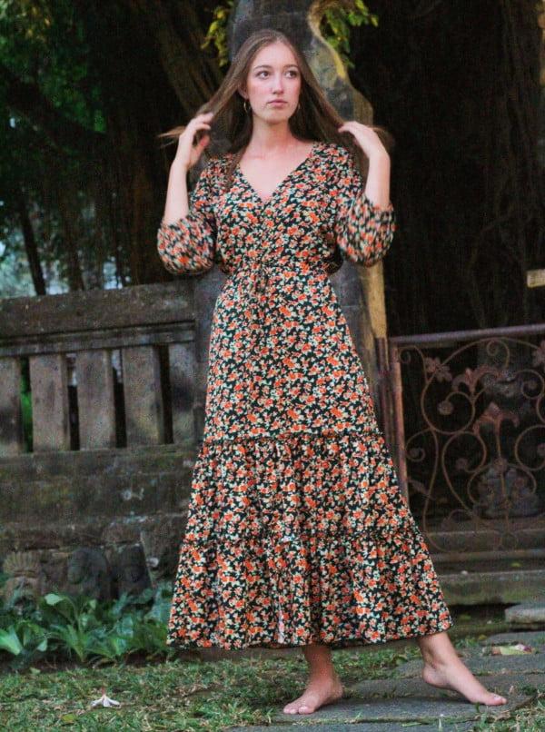Boho Chic Röschen Kleid Midi Kleid Hippie Kleid Halbarm Volant Kleid Gypsy Style