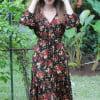 Boho Gypsy Kleid Halbarm Herbst Winter Hippie Kleid