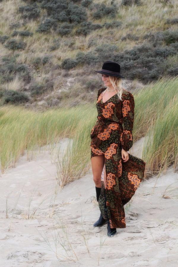 Boho Herbst Winter Kleid lang Hippie Muster