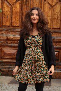 Boho Herbst Winter Outfit Blumen Tunika Cardigan Schwarz