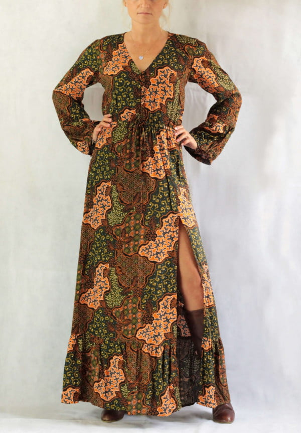 Boho Herbst Winter Outfit Bohemian Kleid Lang Schlitz Kleid Langarm