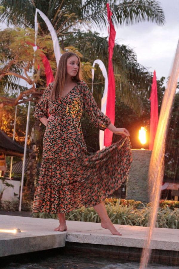 Boho Hippie Röschen Kleid Grün Midi Kleid Hippie Kleid Halbarm Volant Kleid Gypsy Style