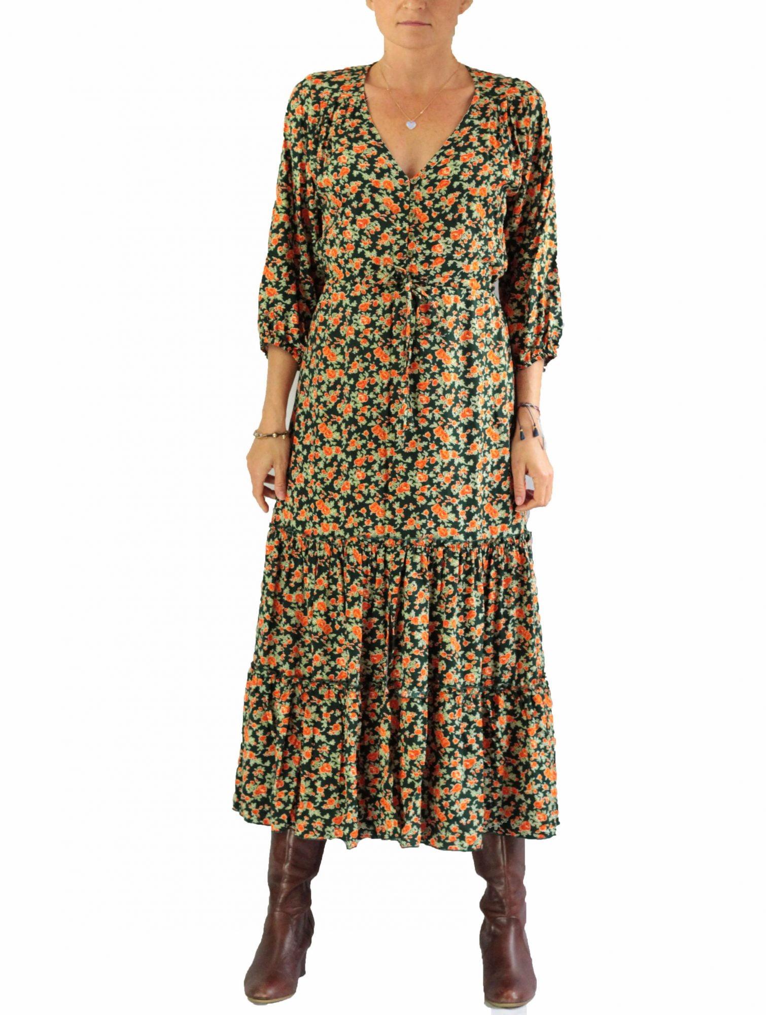 Boho Hippie Volantkleid Midilänge mit Blumenmuster Grün Orange