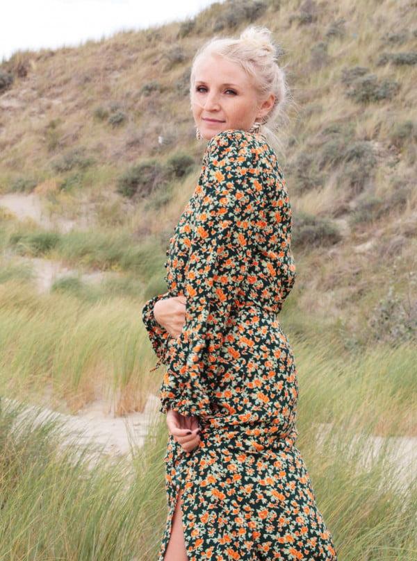 Boho Ibiza Style Kleidung Deutschland Boheme Kleid Lang Rosenmuster