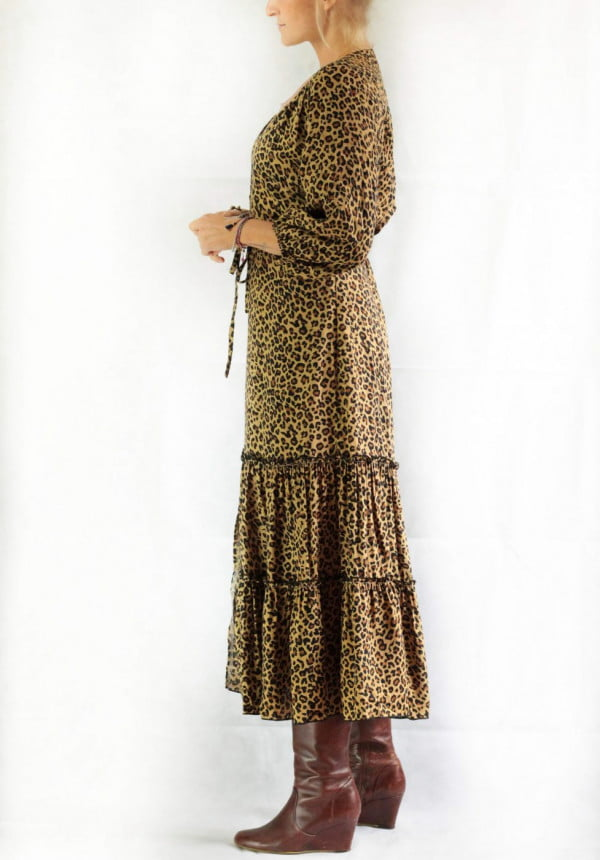 Bohemian Midi Dress Flounce
