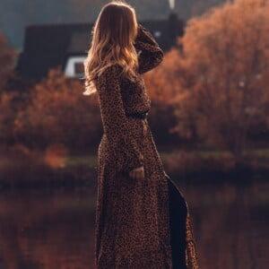 Boho Leoparden Kleid Lang mit Schlitz