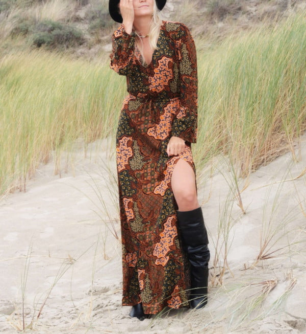 Boho Maxikleider Damen Herbst Winter Kollektion Boho Chic Kleid Lang Witchy Kleid