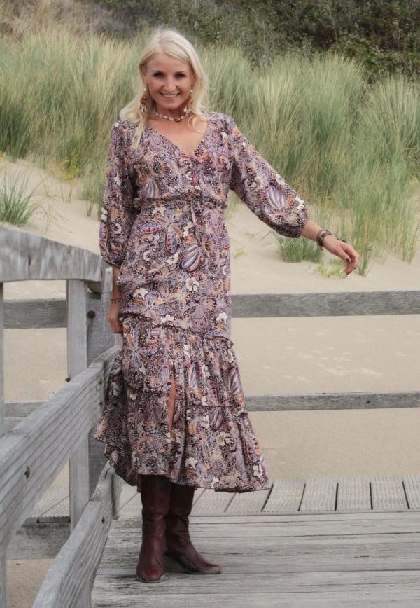 Boho Midi Dress Butterfly Pattern