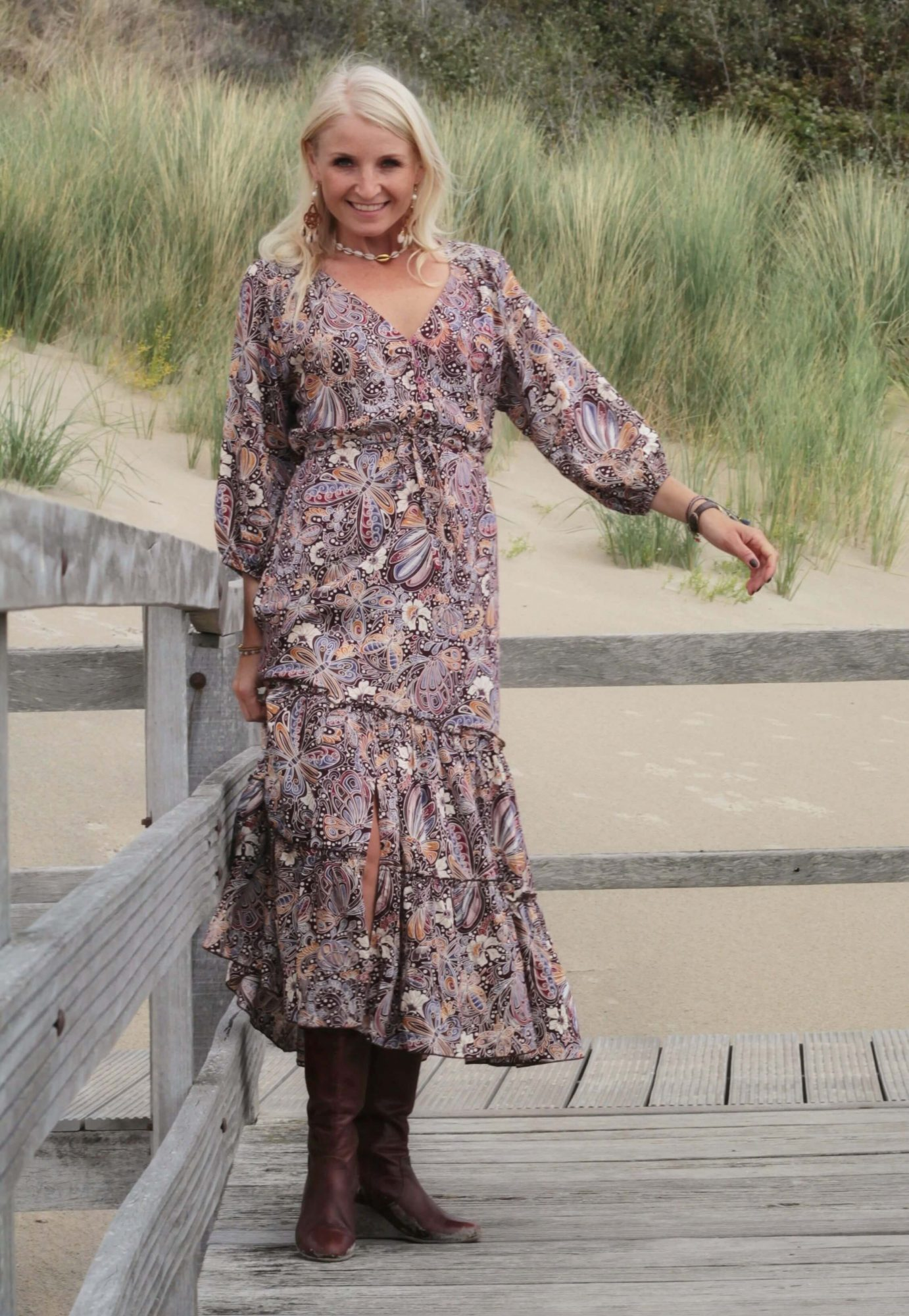 Boho Midi Dress Butterfly Pattern