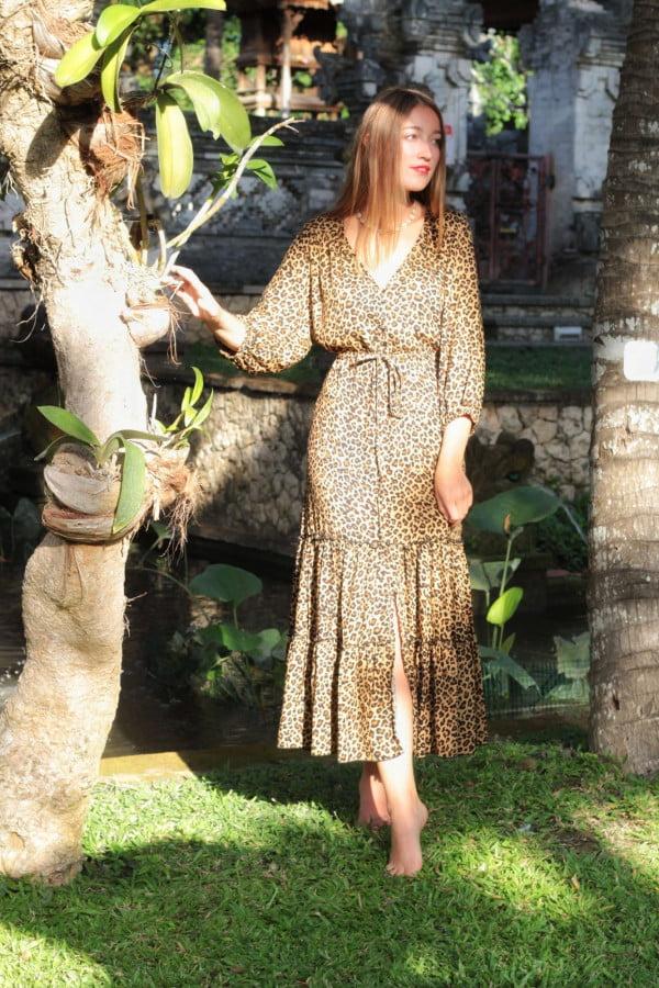 Gypsy Kleid Boho Kleid Midi Kleid Leopard Muster