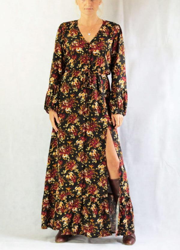 Gypsy Style Kleid Maxi Kleid Schlitz Kleid Herbst Winter Kollektion