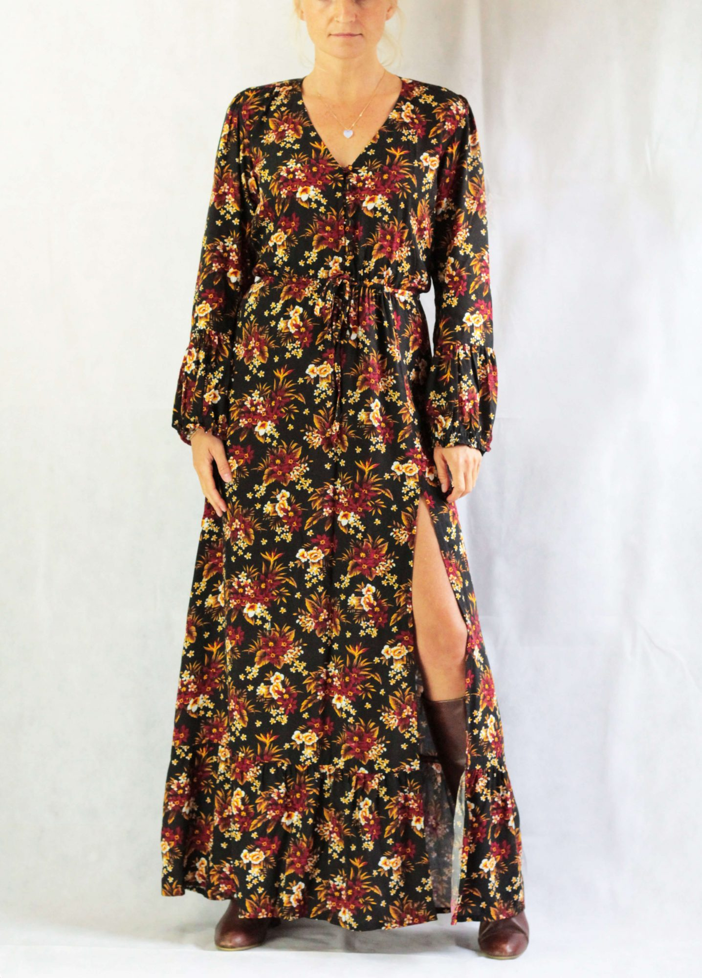 Black Boho Maxi Dress red flowers- Floral Dress long