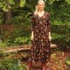 Hippi Kleid Schwarz Rot