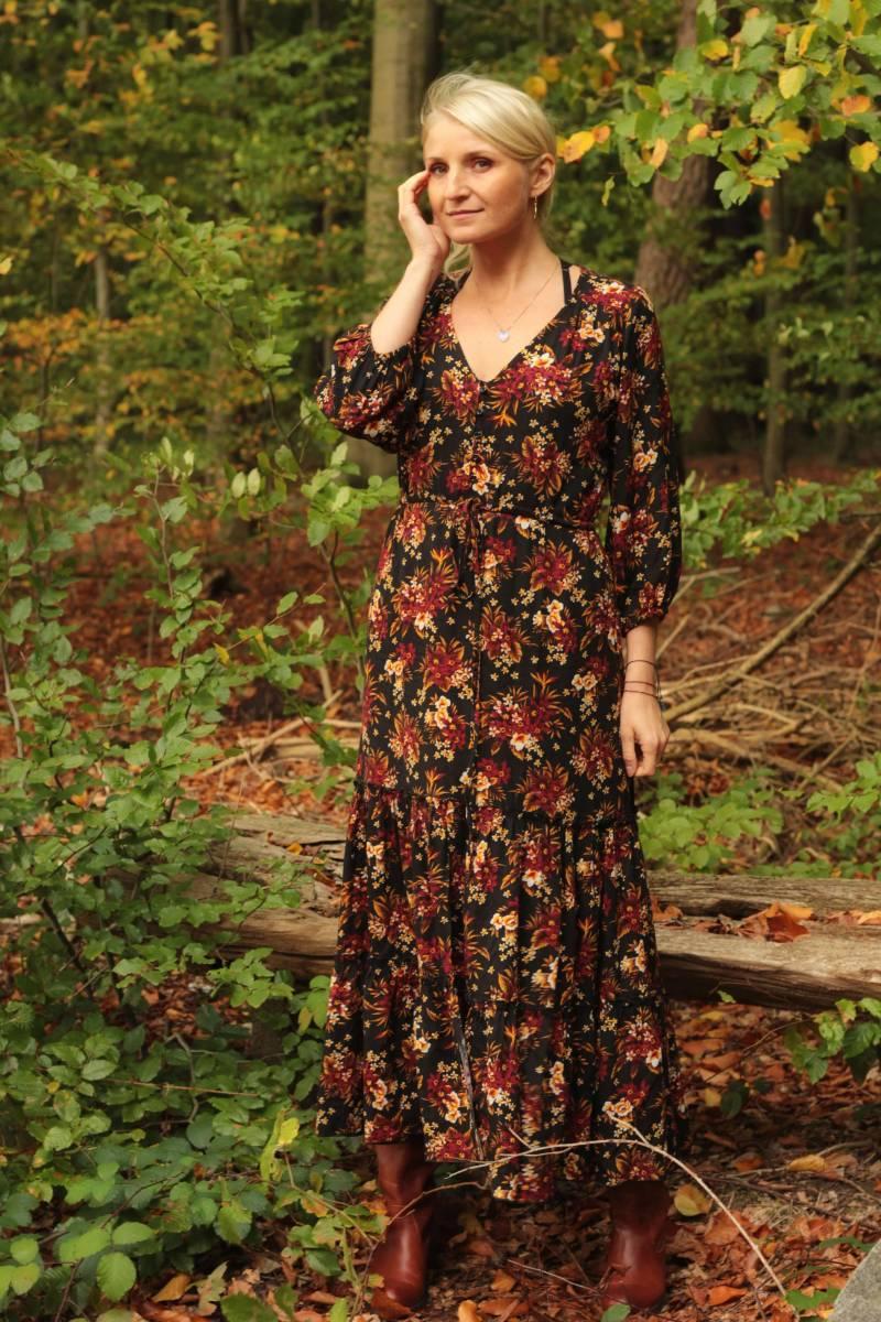 Hippie Herbst Winter Kleid Geblümt