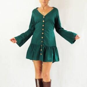 Hippie Kleid Kurz Baumwole Knöpfekleid Türkis Trompetenärmel Glockenärmel