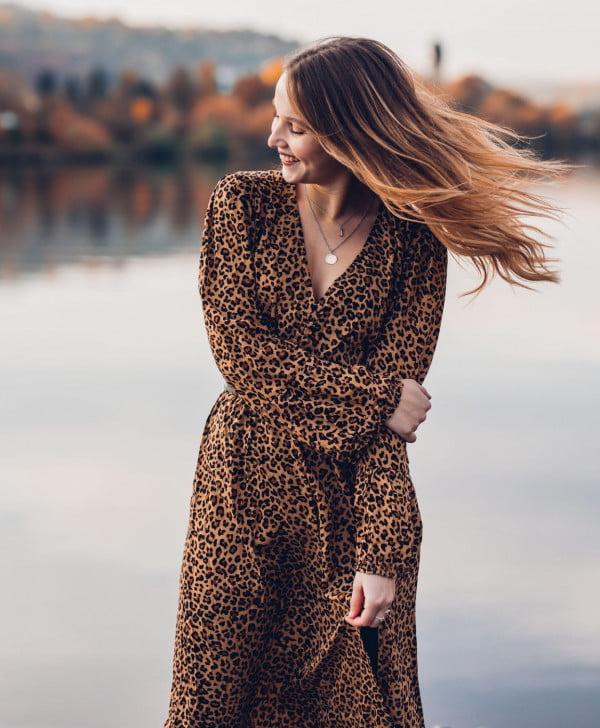 Hippie Kleid Leomuster Bohemian Style Boho Kleidung Online-min