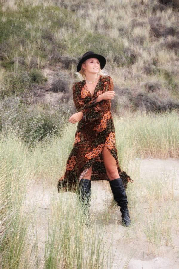 Ibiza Style Boho Kleid Maxi Langarm Schlitz Batik
