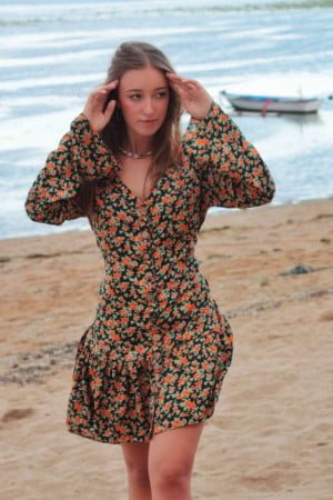 Boho style floral dress 90s style Summer Dress