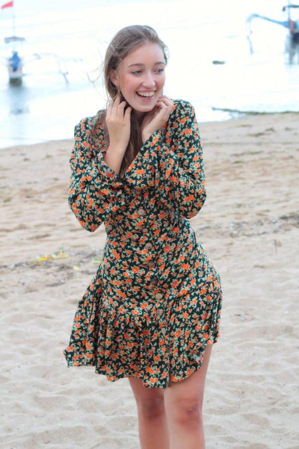 Kurzes Boho Kleid Langarm Blumen Tunika Kleid Kurz