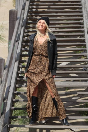 Boho Leo Print Maxi Dress