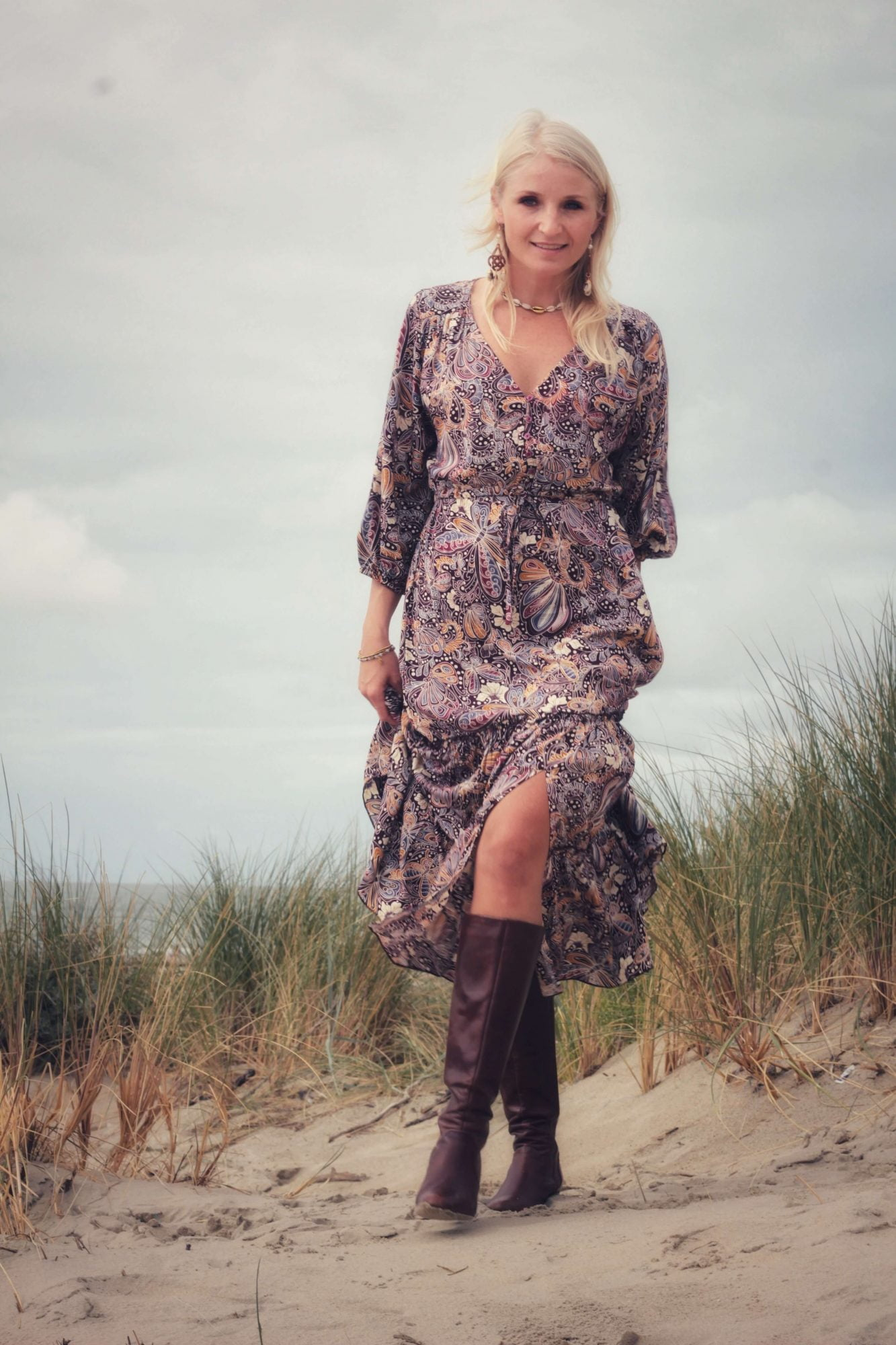Boho Chic Midikleid Herbst Winter Bohemian Style Kleidung