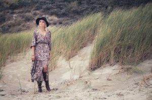 Modern Hippie Boho Kleid Braun Weiß