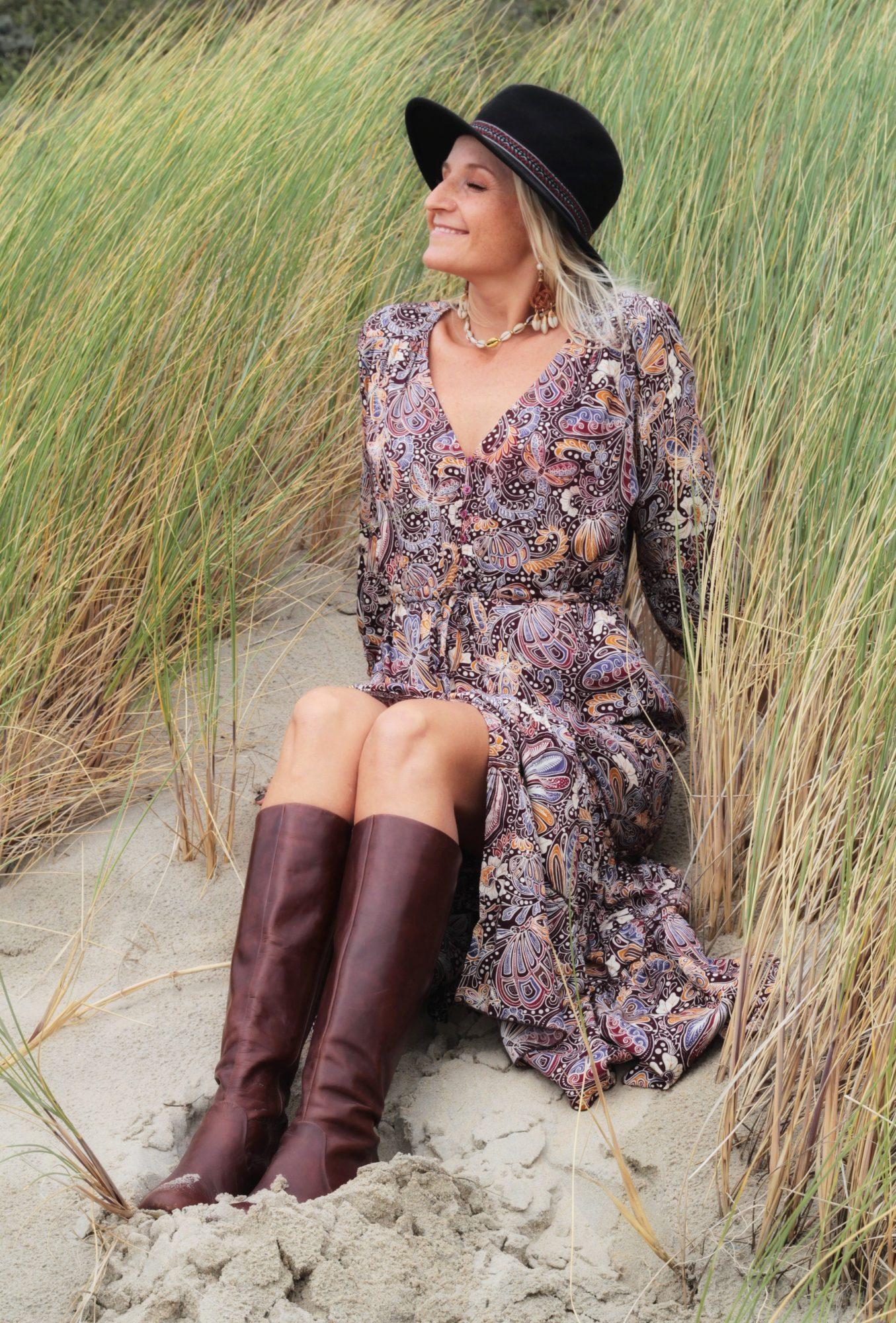 Modern Hippie Boho Kleid Braun Weiß Boho Chic herbst Winter Faire Boho Kleidung