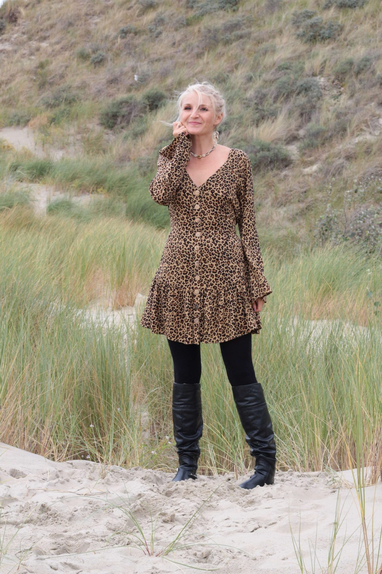 herbst Winter Tunike Kleid Leo Print Animal Print