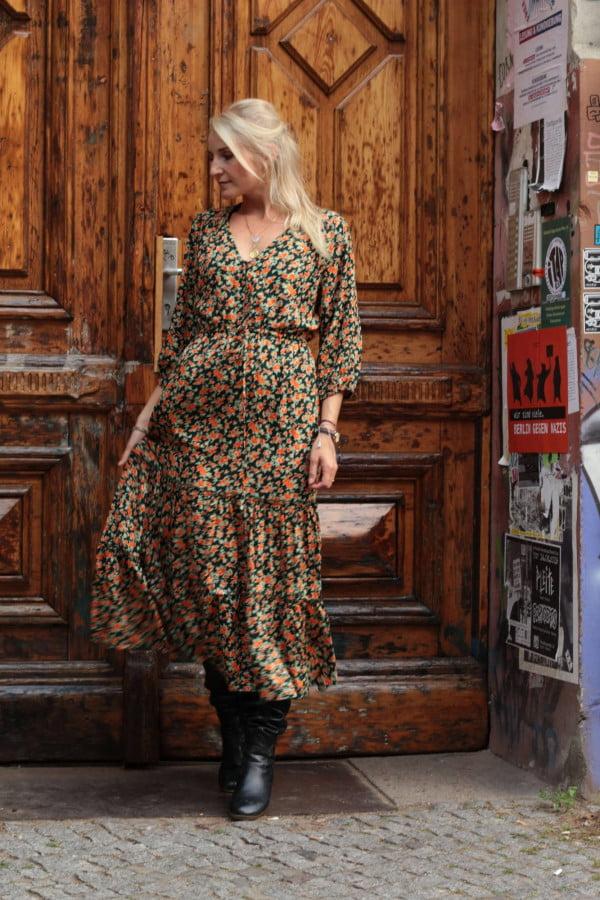Hippie Kleid Blumen Volant Kleid