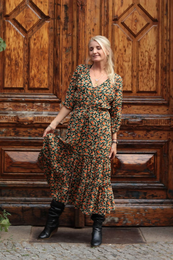 V Ausschnitt Kleid Midikleid Hippie Style