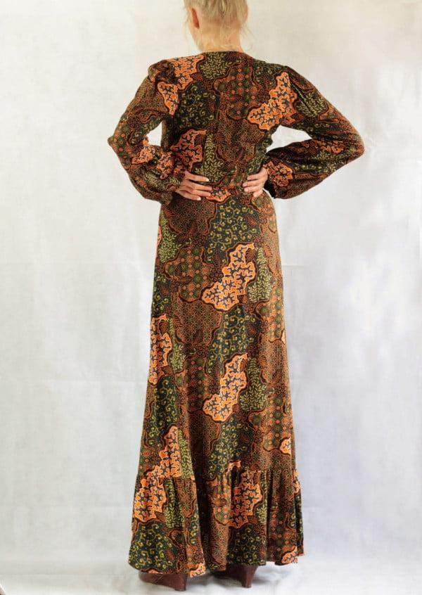 Langes Hippie Ibiza Style Kleid Bali Batik Print Hippie Muster Kleid Schlitz Maxikleider Damen