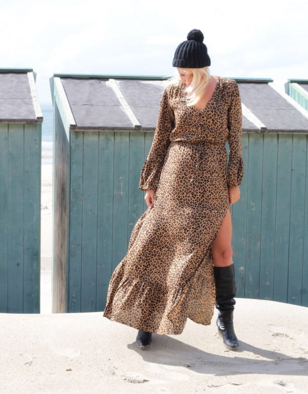 Leo Muster Maxi Kleid Bohemian Ibiza Style