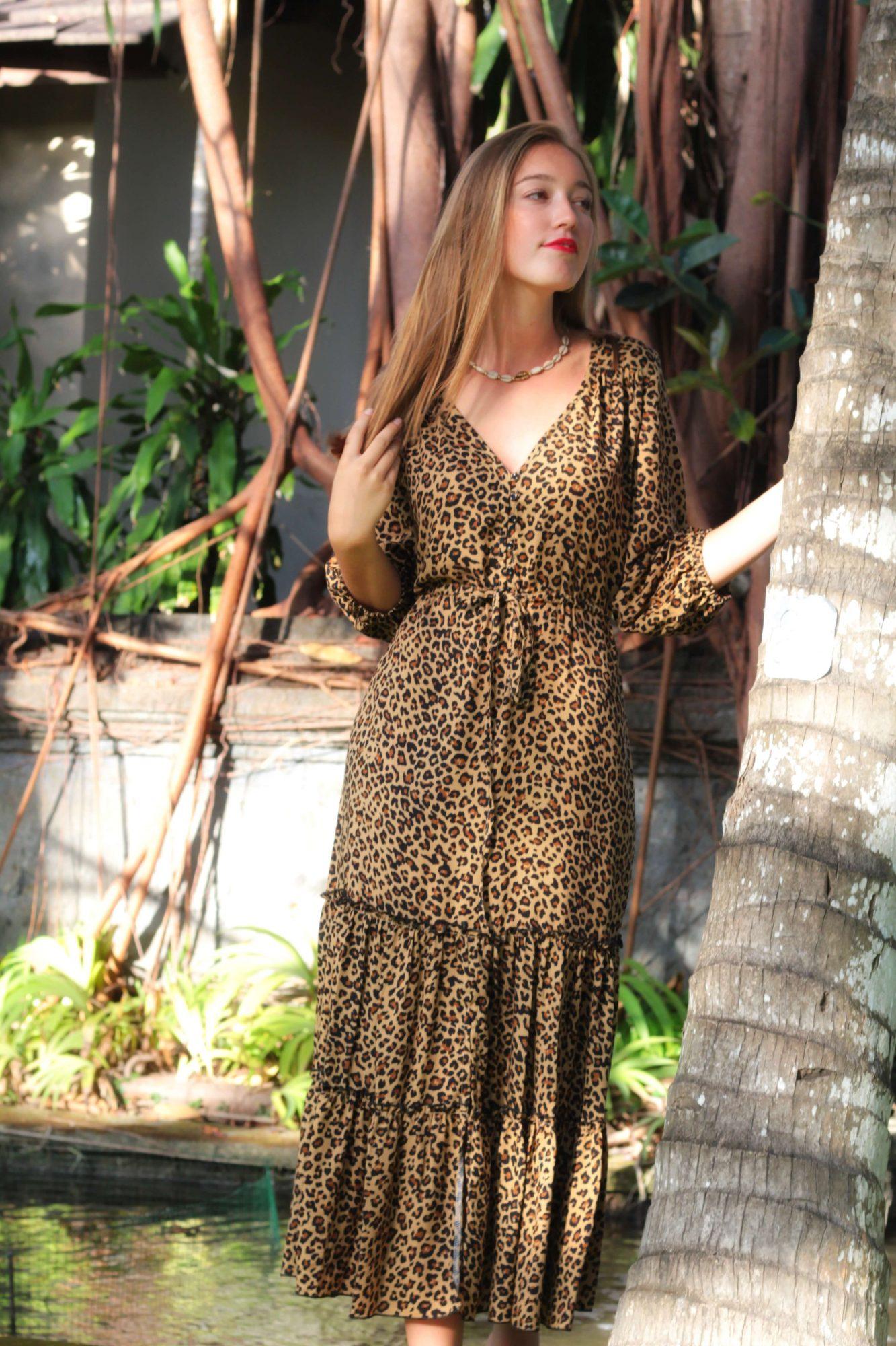 Leoparden Midikleid Gypsy Style Boho Ibiza Kleidung Berlin Deutschland