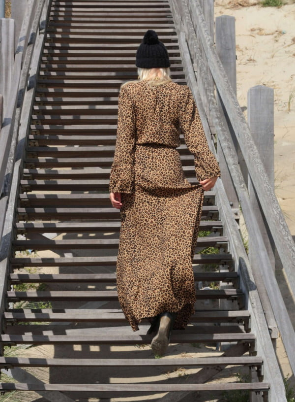 Leooparden Print Boho Maxi Kleid Bohemian Gypsy Maxikleid Boho Outfit