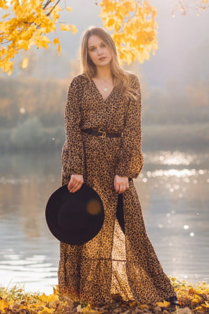 Leo print maxi dress with slit boho style Ibiza look