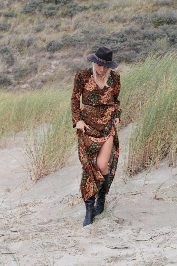 Modern Boho Kleid Bodenlang Schlitzkleid Bohemian Ibiza Look