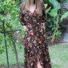 Modern Boho Kleid Midi Kleid Schwarz Rote Blumen Muster