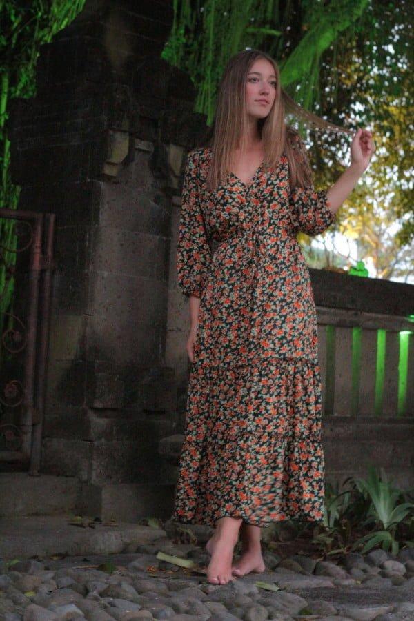 Modern Boho Röschen Kleid Midi Kleid Hippie Kleid Halbarm Volant Kleid Gypsy Style