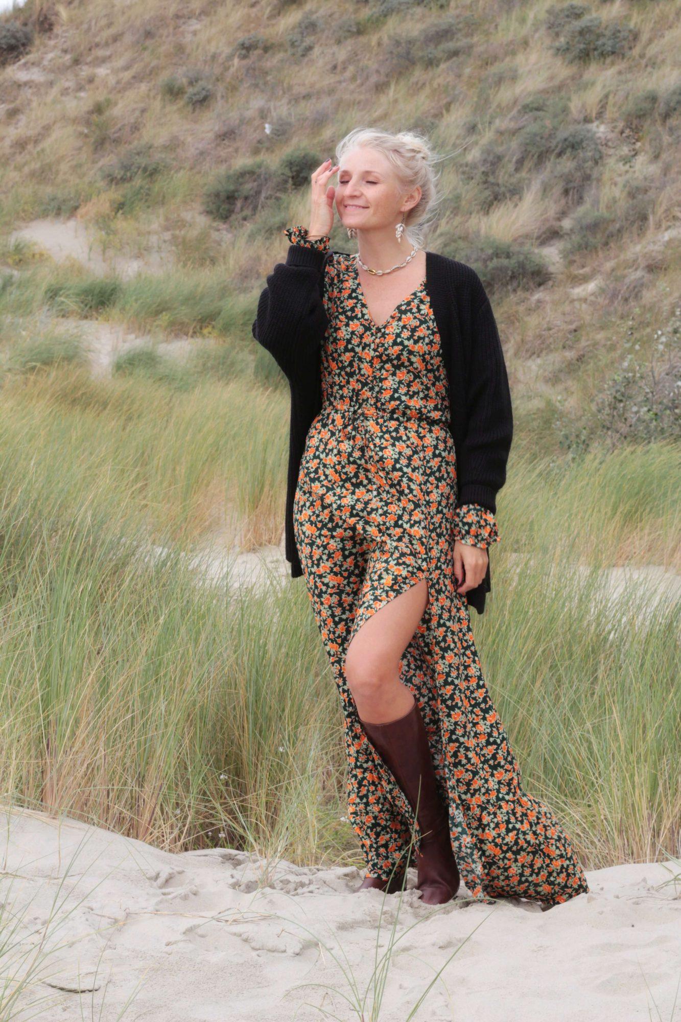 Weltentänzer Herbst Winter Kollektion Bohemian Maxi Kleid mit Cardigan